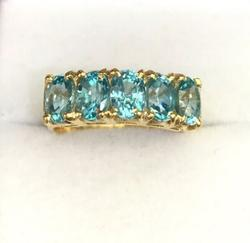 Blue Zircon & 14kt Gold Band Ring