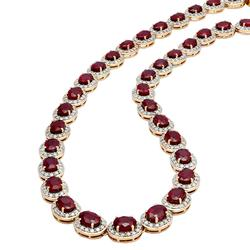 Radiant 44+ctw. Ruby and Diamond Necklace