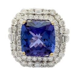Undeniably stylish 6.08ctw. Tanzanite & Diamond Ring