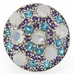 Sterling Silver Multi Color Gemstone Ring