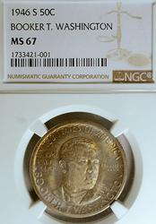 Superb Gem Dark MS67 1946-S BT Washington Half Dollar