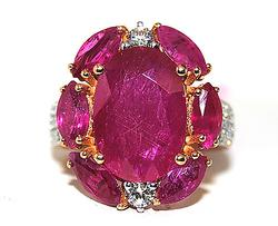 Stunning Rose Gold Ruby Filled Ring, 7+ctw
