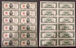 12 Subject sheet $5 1928-E Legal Tender Uncirculated