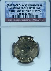 BU 2007 Washington Dollar Error Coin, NGC