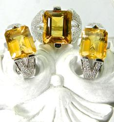 Fashionable 14K White Gold Citrine Ring & Earring Set