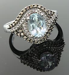 Diamond & Blue Topaz Bypass Style Ring