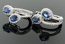 Diamond & Sapphire Huggie Earrings