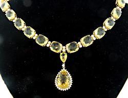 Exquisite Citrine & Diamond Necklace