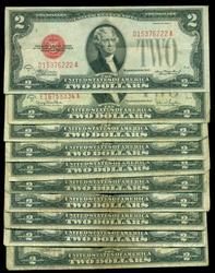 10 Series of 1928 Small Size $2 Red Seal Notes