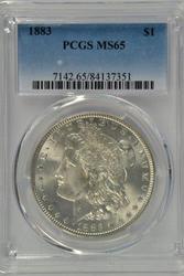 Solid Gem BU 1883 Morgan Silver Dollar. PCGS MS65