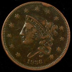 Sharp 1836 Coronet Head Large Cent in XF condition
