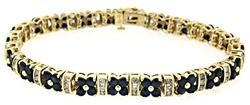 Flower Motif Diamond & Sapphire Bracelet