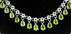 Heavy Peridot and Topaz Vintage Necklace