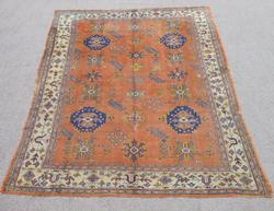Magnificent Antique Circa 1900 Wool on Wool Turkish Oushak 7x8