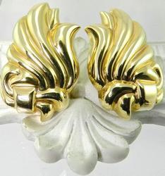Dramatic 14K Yellow Gold Earrings