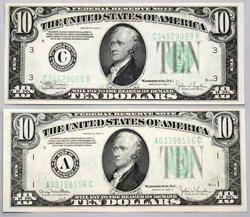 1934 C& D $10 Federal Reserve Notes