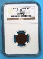 1861-65 G L Bowne Cooperstown NY MS61 in NGC holder