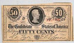 Ch CU popular  50 Cent 4/6/1863 Confederate States Note