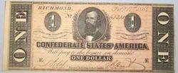 CH AU $1 Confederate States Note Feb 17 1864 t-71