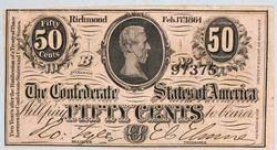 Ch CU popular  50 Cent 2/1/1864 Confederate States Note