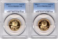2 Diff. High Grade Sacagawea Dollars. PCGS PF69DCAM