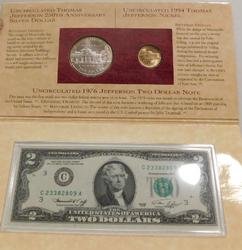 1993 Jefferson Coin and Currency Set, Dol/Nic/$2 Bill.