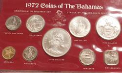 1972 Silver Bahamas Unc Specimen Set, 9 pieces