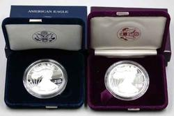 1988 &2010 Proof Silver Eagles with box and Papers