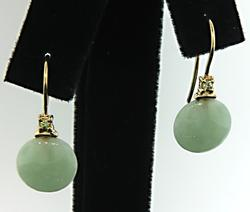Green Jade and Peridot Drop Earrings