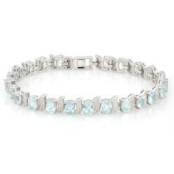 9ctw Aquamarine Sterling Bracelet