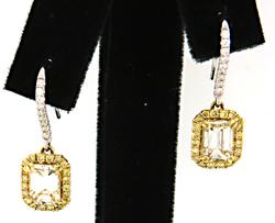 2.46 CTW White & Yellow Diamond Dangle Earrings in 18K