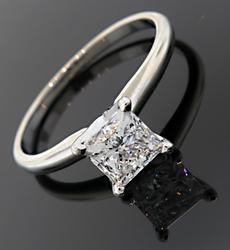 1.01 CT Princess Solitaire in 14K/Platinum