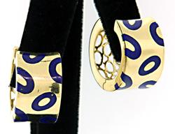 Wide Yellow Gold Hoops with Blue Enamel in 18K