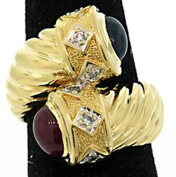 Sapphire & Ruby Cabochon Bypass Ring in 18K