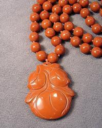 Red Jasper Peach Pendant Necklace
