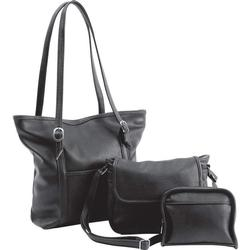 Great 3-Piece Set Black Leather Handbag & Clutch