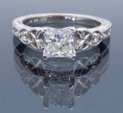 GIA Certified 18K White Gold Engagement Ring
