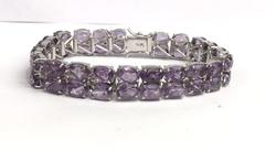 Sterling Silver & 45 Carat Amethyst Bracelet