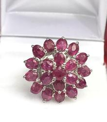 Sterling Silver and 4 CTW Natural Ruby Cocktail Ring