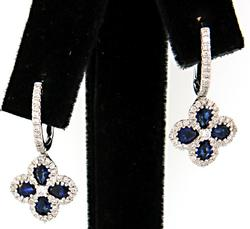 Sapphire & Diamond Clover Dangle Earrings
