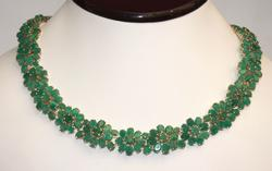 75 Carat Emerald Necklace in 14KT Gold!
