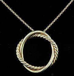 David Yurman Double Circle Pendant Necklace in 18K