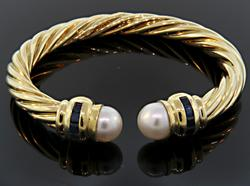 Pearl & Sapphire Bangle Bracelet in 18K