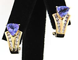 Outstanding Tanzanite & Diamond Earrings at 3.23 CTW