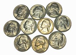 10 Choice BU 1950 D Key Jefferson Nickels