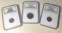 3 NGC Holdered Type 2  Planchet Clad Mint error blanks