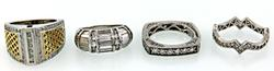 Lot of 4 Sterling and CZ Rings