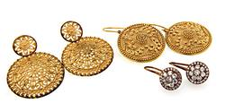 Lot of 3 Pairs of Gold Plated Sterling Earrings