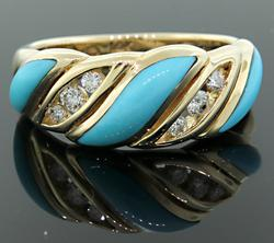 Stylish Turquoise & Diamond Ring