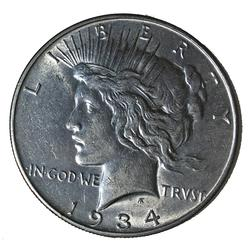1934 D Near Uncirculated Peace Dollar